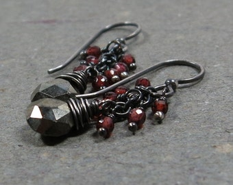 Pyrite Earrings Garnet Cluster Oxidized Sterling Silver January Birthstone Earrings Gift for Wife