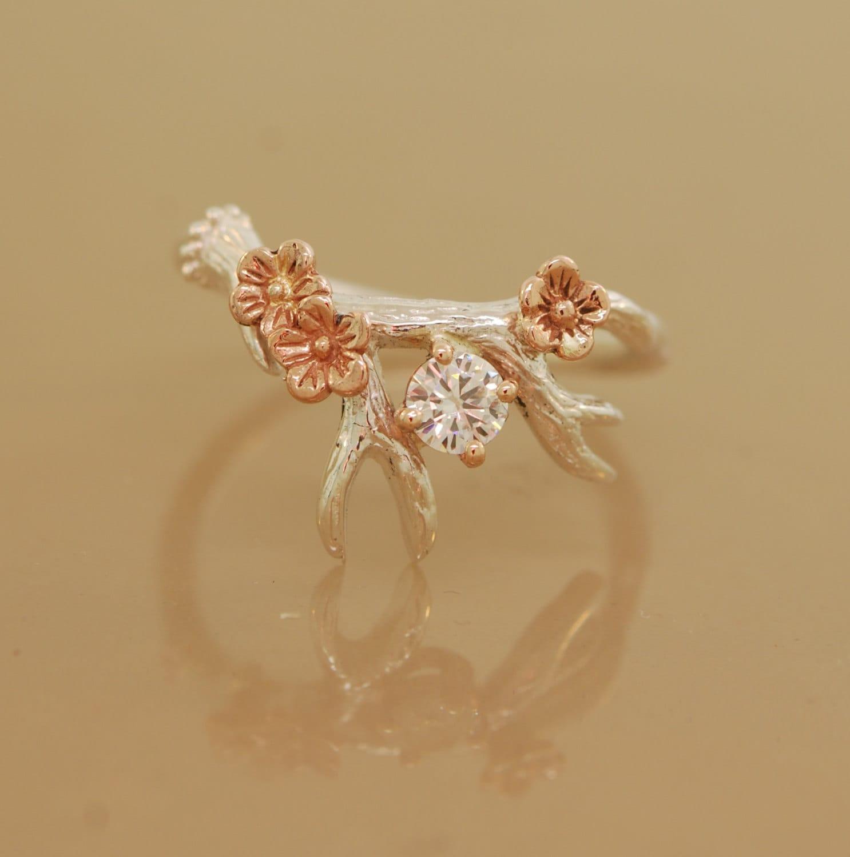 Antler Ring 2 With Rose Gold Flowers moissanite