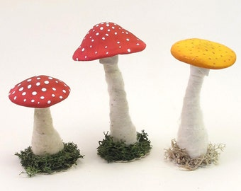 Spun Cotton Vintage Style Standing Mushroom Figure (One mushroom)