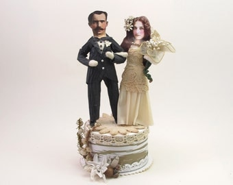 READY TO SHIP Vintage Style Spun Cotton Classic Bride and Groom Wedding Topper Ooak