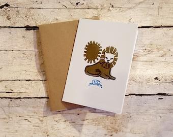 Leo the Lion zodiac letterpress linocut blank card