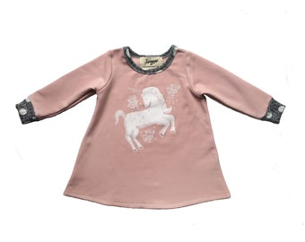 2T last size Unicorn print pink bamboo fleece sweatshirt dress Supayana