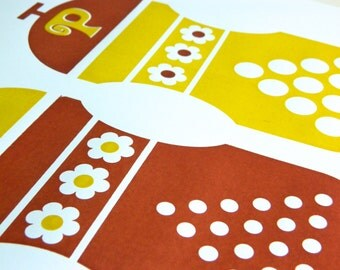 Hand Pulled A3 2 Colour Screen Print - Salt and Pepper Brown/Mustard FREE WORLDWIDE SHIPPING