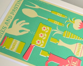 SPECIAL OFFER Retro Hobbies and Pastimes A3 Poster Print - Cooking and Baking