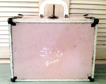 Wonderful Vintage Pink Metal Ginny Doll Suitcase Doll Case