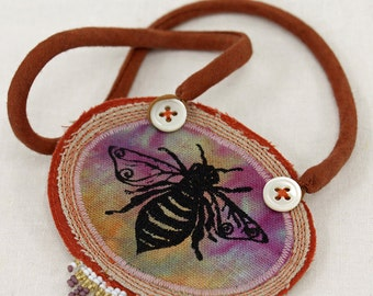 Honey bee necklace, fabric necklace, queen bee pendant, choker, hand dyed fabric, natural linen, beaded fringe, textile art jewelry,