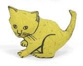 decorative pillow, kitten shaped pillow, plush kitten pillow, animal shaped pillow, olive green abstract fabric pillow