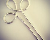 Hammered Solid Sterling Silver Hair Fork Hairpin Barrette
