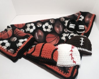 Baseball Football Basketball Crochet and Fleece Baby Blanket Set Comes With 3 Hats, Blanket, Booties and Lovey - A Perfect Baby Shower Gift!