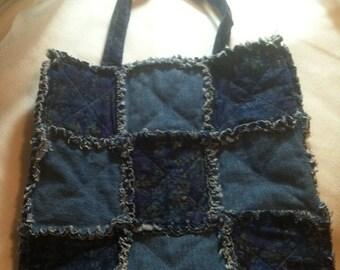 Texas Bluebonnet Batik Denim Tote raggy style, reversible