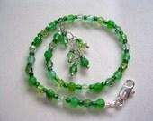 Green Anklet Gemstone Ankle Bracelet Swarovski Crystal Agate Anklet Peridot Erinite Chrysolite Adjustable Silver Gemstone and Crystal Green