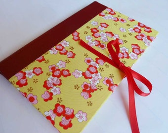 Handbound Journal featuring yellow Japanese chiyogami covers