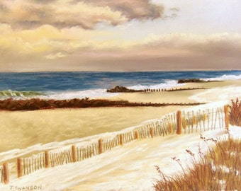 Jersey Shore Snow on Bay Head Beach Original Pastel Painting 9x12 Free Shipping