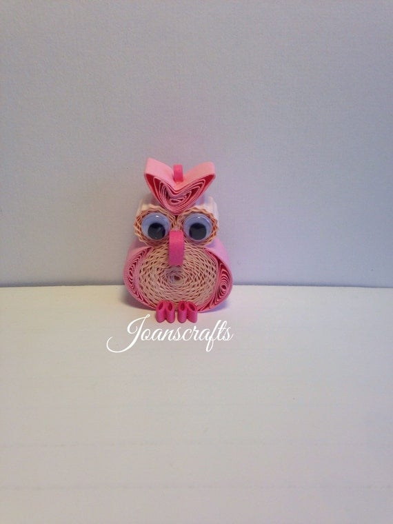 Quilling, Owl Ornament, Pastel Pink, Magnet