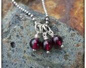 Garnet Charm  - January Birthstone Necklace - Gemstone - First Chakra