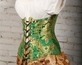 Waist 32-34 Emerald and Gold Brocade Wench Corset