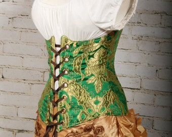 Waist 35-37 Emerald and Gold Brocade Wench Corset