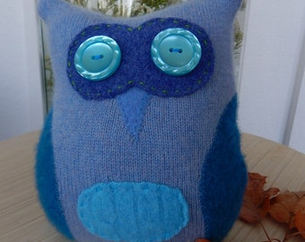 Recycled Cashmere Owl Tooth Fairy Pillow -  Blue Owl
