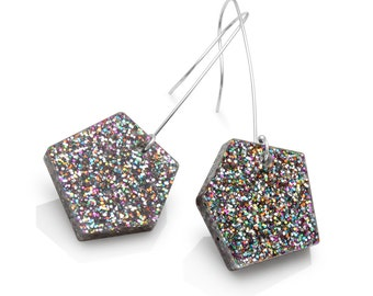 Rainbow Confetti Glitter Nugget Drop Earrings