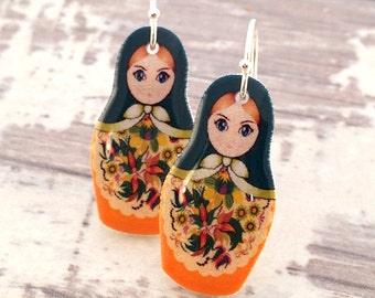 Russian Doll Matryoshka Earrings Drop Earrings Shrink Plastic Resin Earrings Gift for Her Dangle Earrings Stocking Stuffer Folk Earrings