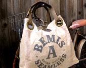Bemis A Seamless - Illinois  - Open Tote - Americana OOAK Canvas & Leather Tote W- vtg fabric... Selina Vaughan Studios