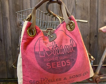 K Brand Seeds - Quincy Illinois - Open Tote - Americana OOAK Canvas & Leather Tote... Selina Vaughan Studios