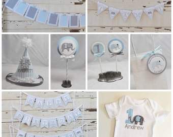 Ultimate Boy Elephant 1st Birthday Party Package- Personalized