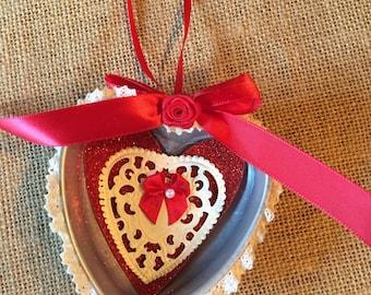 Vintage tin jello mold Valentines ornament