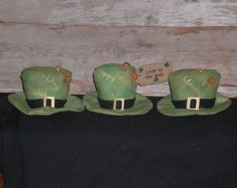3 Primitive St. Patty's - St. Patrick's Day - Luck of the Irish - Hats - March 17 - Green - Bowl Fillers Ornies Ornaments Tucks