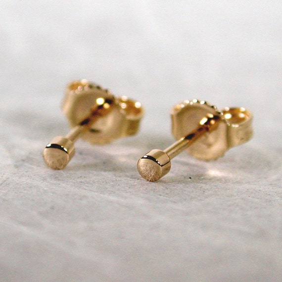 teeny tiny earrings 14k 2mm gold stud earrings 2mm by sarantos