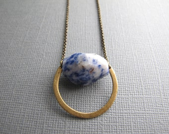 Sodalite Pendant on Brass, Long Layering Necklace, Spotted Blue Stone, Boho Jewelry, Nugget Bead