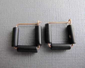 Black Bronze Hoop Earrings, Geometric Earrings, Square Earrings, Tube Bead Hoops