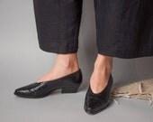 orinoco black woven bootie style pumps / vintage leather pumps / 5 / 548s