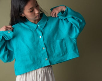aqua oversized cropped linen blouse / vintage 80s crop top / woven blouse / s / m / 1549t