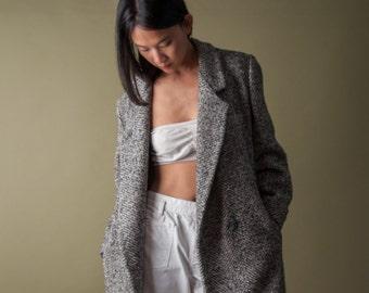tweed classic coat / long minimalist coat / winter coat / m / 1073o