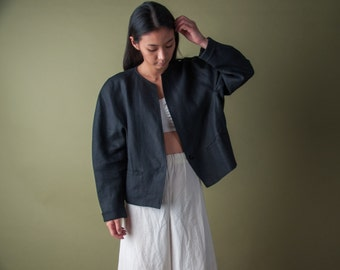 MAXMARA black linen jacket / voluminous short jacket / simple linen coat / m / 1988o