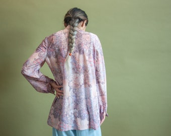 70s floral print blouse / flower blouse / print button down shirt / s / m / 1775t / B18