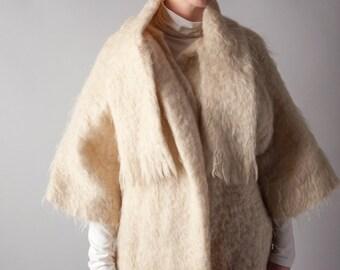 ossie ivory mohair scarf collar coat / kimono style coat / cream short sleeve coat / s / m / 167o