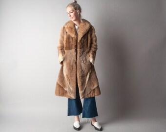 canadian prairies patchwork fur coat / MOD coat / a line fur coat / m