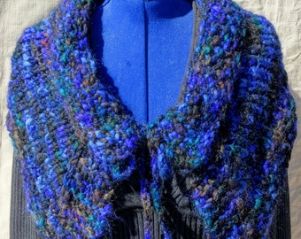 Outlander Inspired Capelet Hand Knitted With Cherry Tree Hill Thick N Thin Yarn Wool Mohair Blue Black Teal Brown Soft And Warm