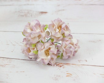 5 pcs - 40mm off white lilac tip mulberry paper gardenia (4 layers) - paper flowers