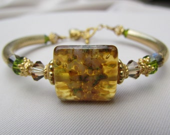 Golden Grace Lampwork Bangle Bracelet