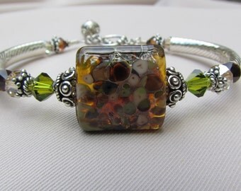 Mocha 2 Silver Lampwork Bangle Bracelet