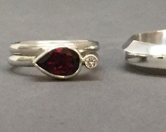 engagement ring polished sterling silver garnet diamond east west engagement ring