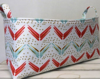 Long Diaper Caddy Storage Container Basket Fabric Organizer Bin - Nursery Decor - Coral Aqua Blue Chevron Fabric