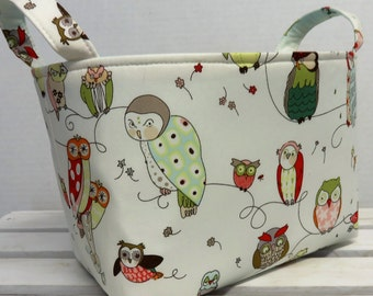 Fabric Basket Organizer Storage Container Bin Basket - Diaper Caddy Decor -  Spotted Owls on Cream Fabric