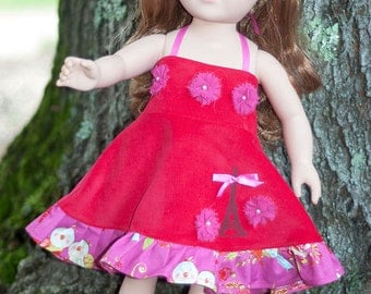 """Paris doll dress, American handmade girl doll dress, 18"""" doll outfit, red pink ruffled dress, doll shoes, Paris party doll dress"""