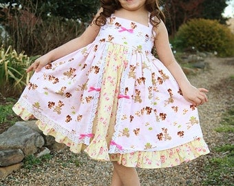 Birthday twirl dress, pink yellow Easter dress, ruffled dress, floral dress, squirrel dress, sundress, tea party dress, toddler dress