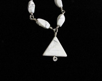 Sterling Silver Wire Wrapped Howlite Pendant Necklace White Gray Gemstone Howlite Beads #112