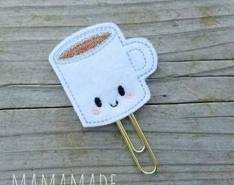 Coffee Mug Feltie - Planner Clip, Magnet or Hairclip (bookmark, planner or journal clip)